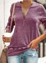 Plus Size Casual Daily Zipper Tops