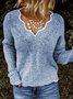 Women Sweaters Solid V neck Knitted Loose Plus Size Pullover Sweaters