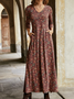 Women Red Casual Floral Cotton Long Sleeve Maxi Dresses