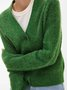 Green Casual Buttoned Knitted Cardigan
