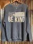 Gray Blue Cotton-Blend Long Sleeve Sweatshirt